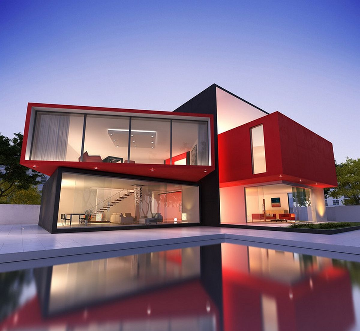 Modern-minimal-home-exterior-in-black-and-red-66682
