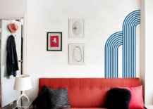 Red sofa in white wall
