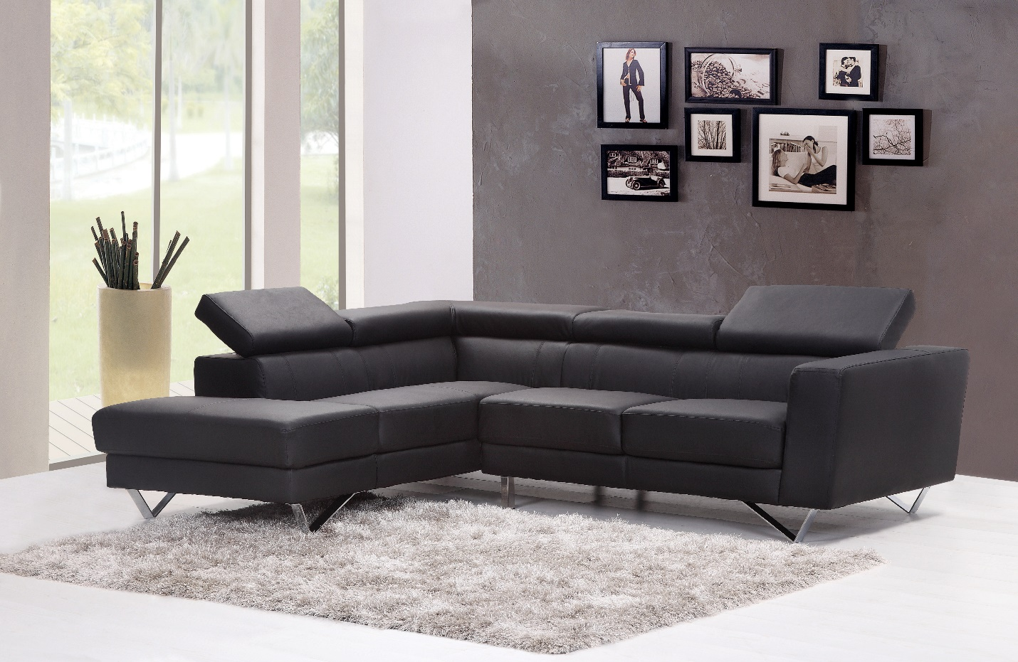 modern living room with modular black couch