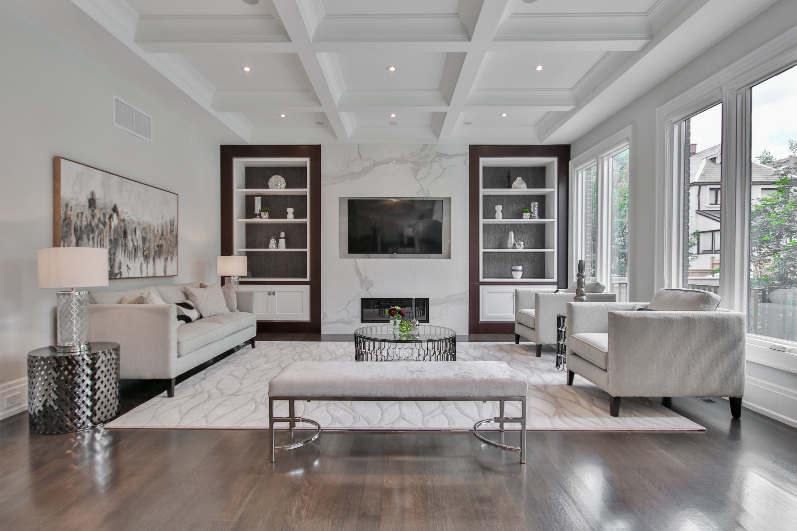 elegent living room with white furniture