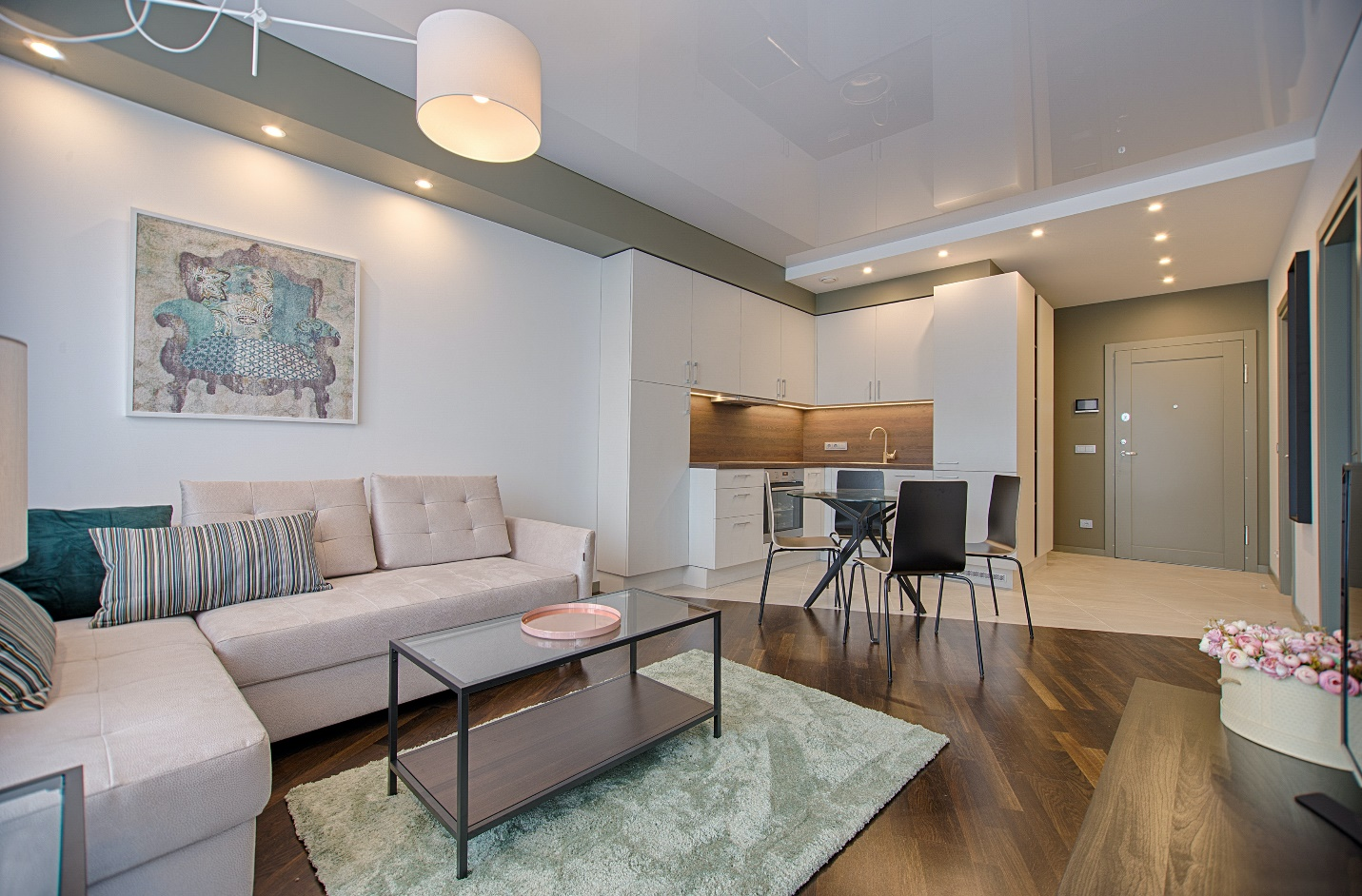 open concept living area with couch