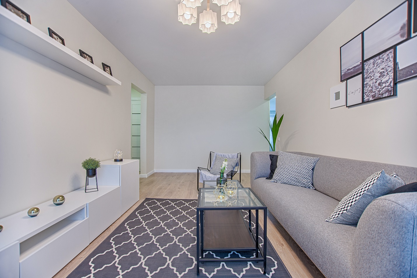 small living area with grey couch