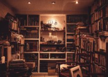 room filled with junk and books
