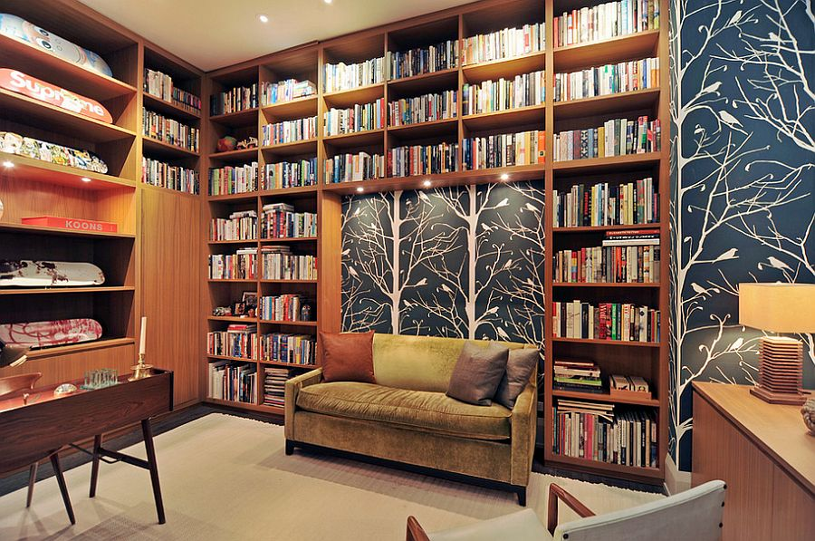 Series of books and wallpaper create the picture-perfect backdrop in this home office