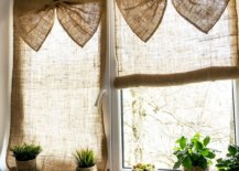 burlap curtain with bow decor