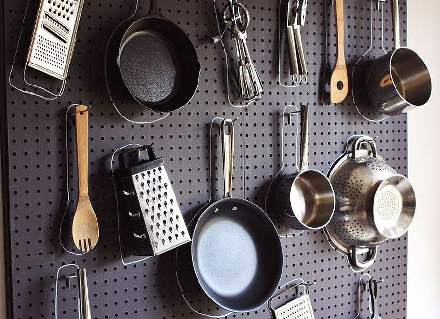 Try out the pegboard wall in the kitchen for a more vibrant and felxible storage solution