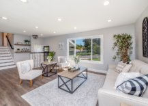 Living space with farmhouse coffee table and couch