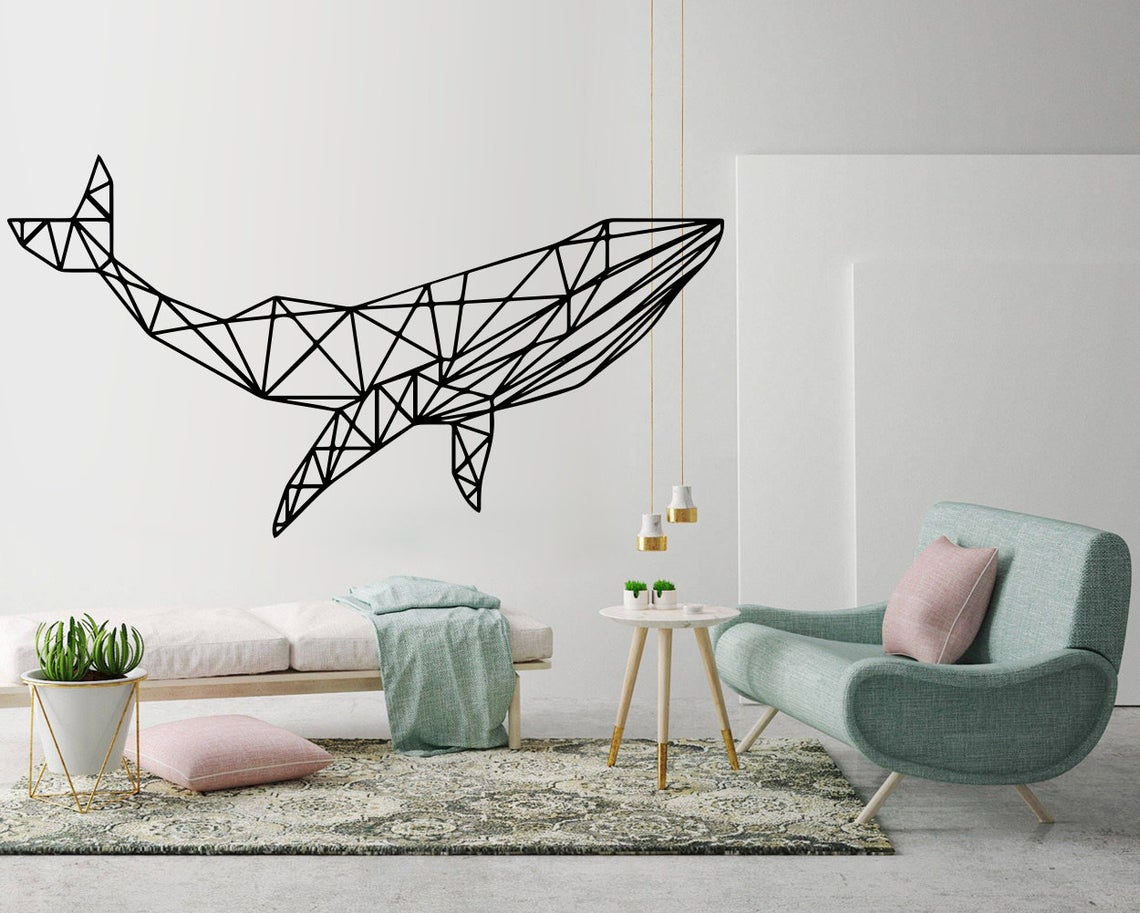 Whale painted on living room wall