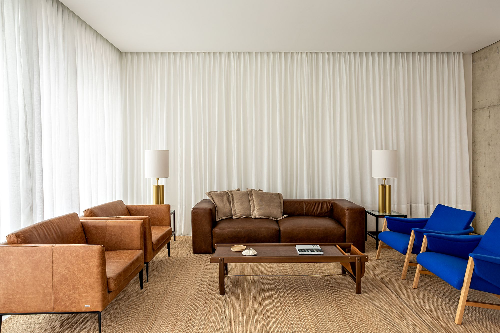 White drapes around the sitting area ensure there is ample privacy