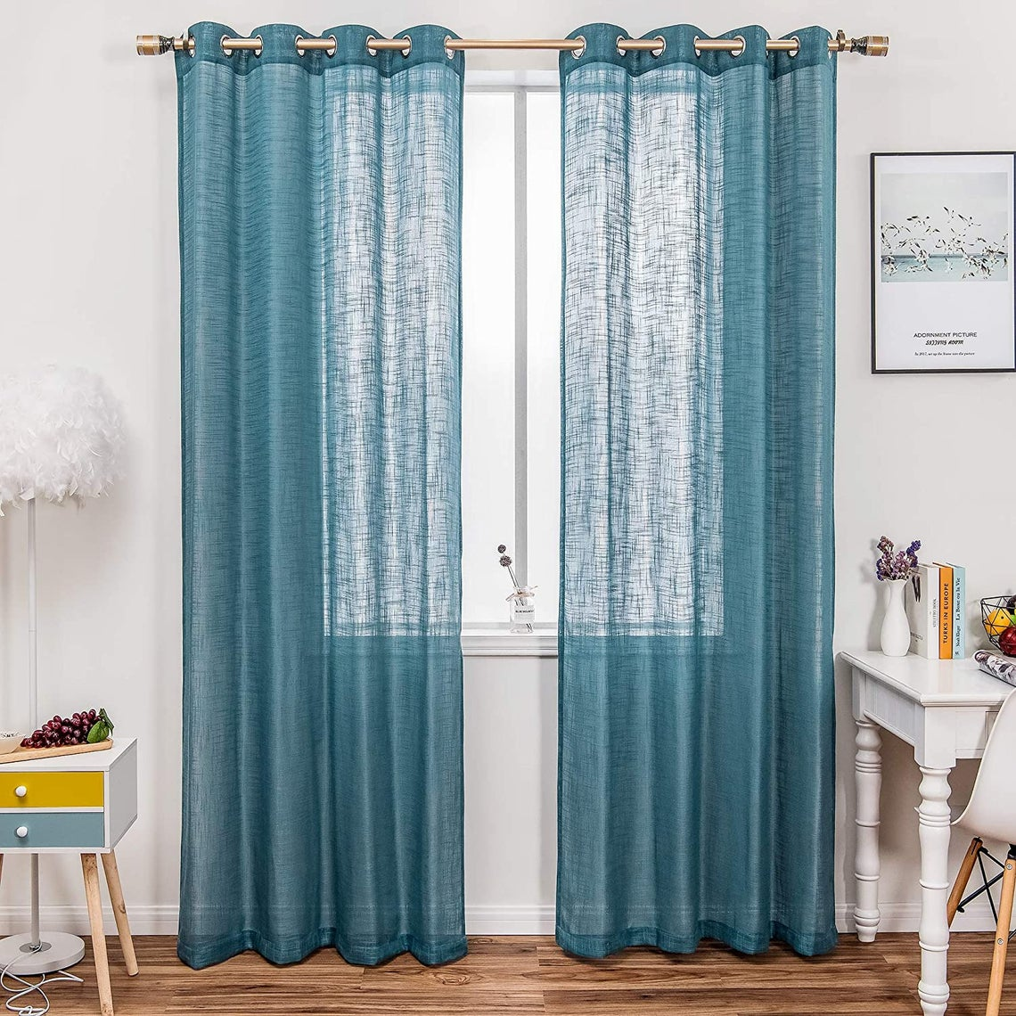 blue sheer panel curtains