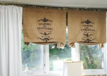 burlap curtains with stamped monogram