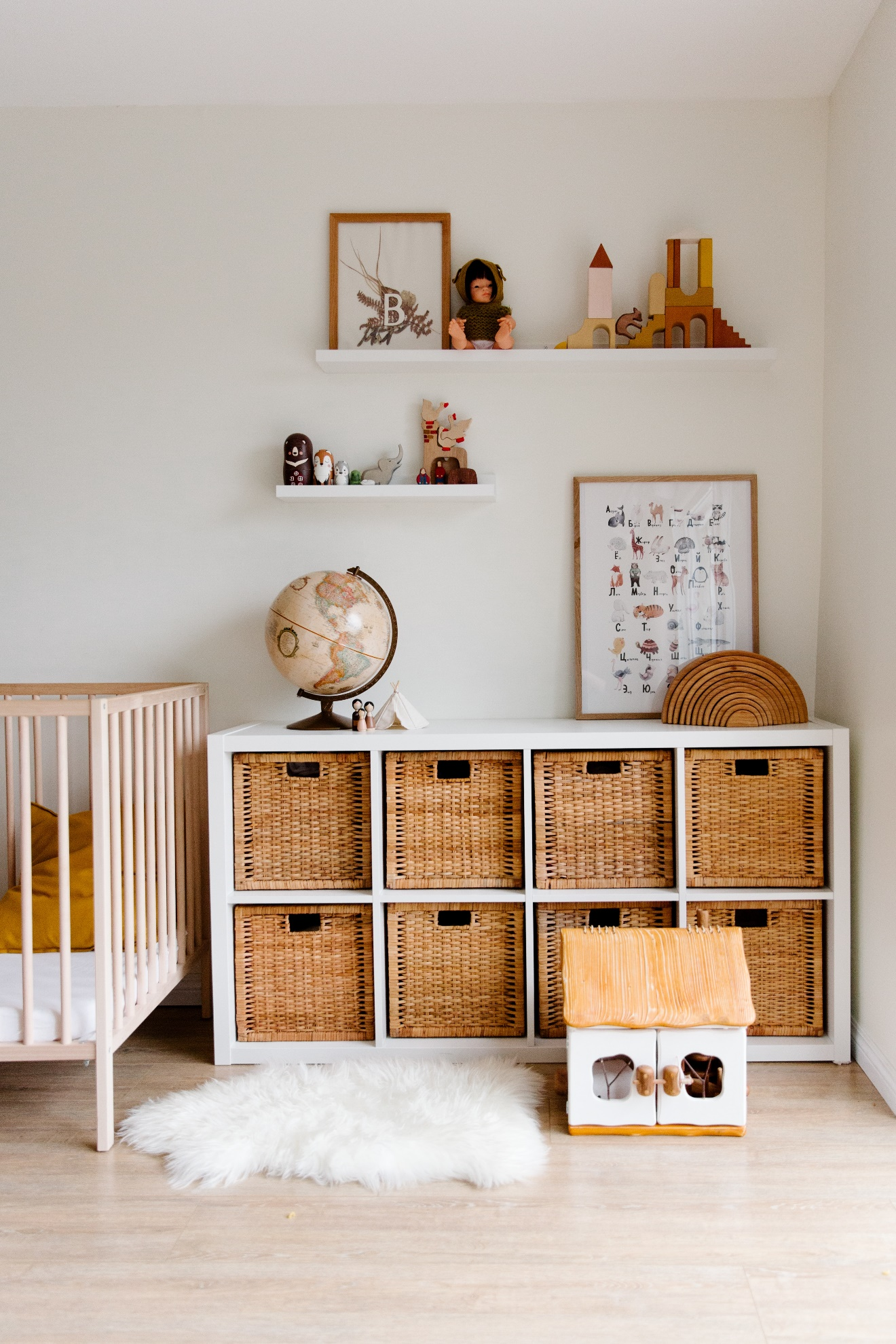 children's room with shelving and storage solution
