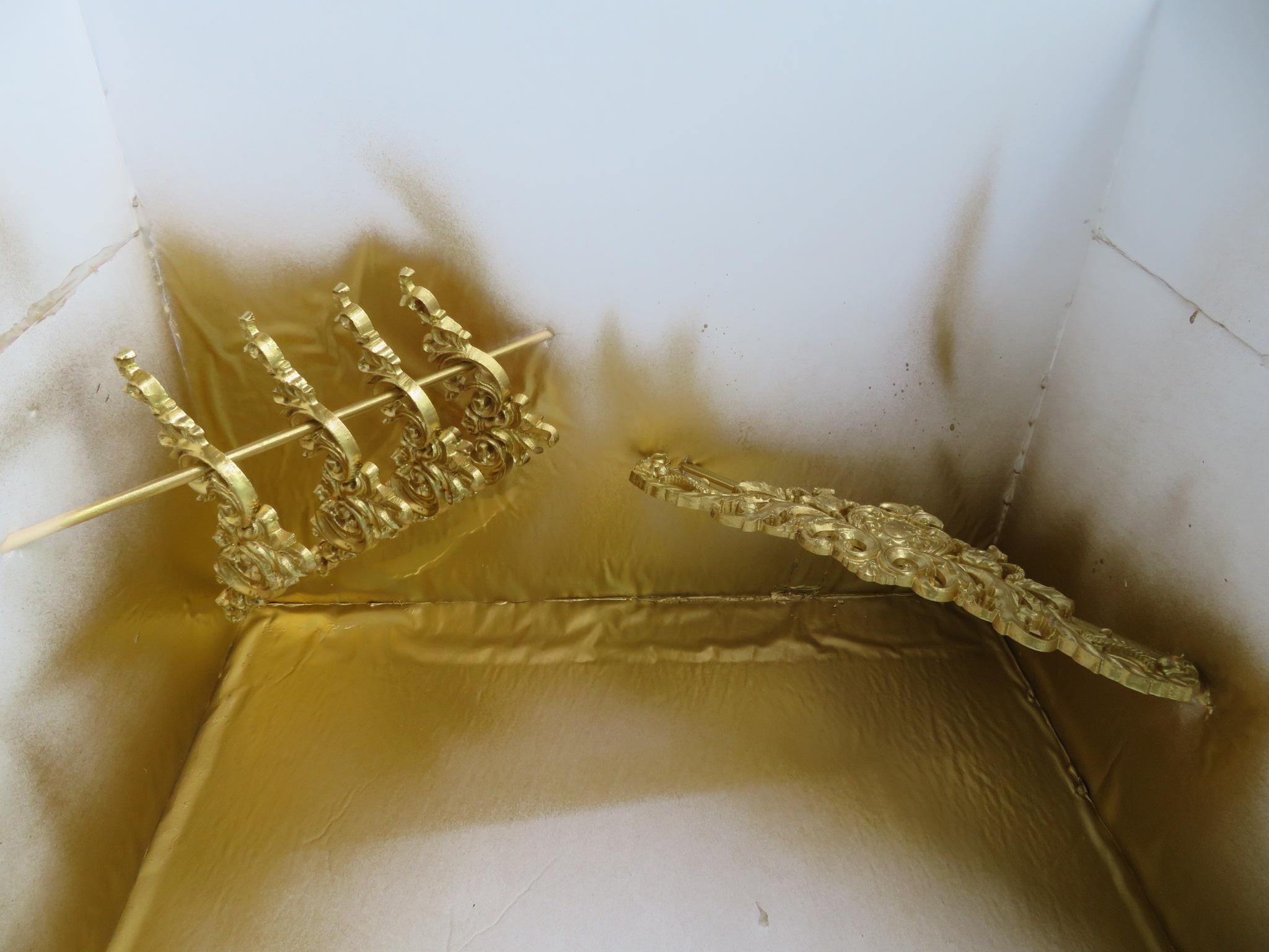 DIY gold spray paint wooden decals