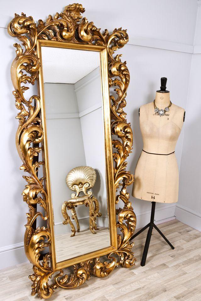 Tall Brass Vintage Decorative Mirror