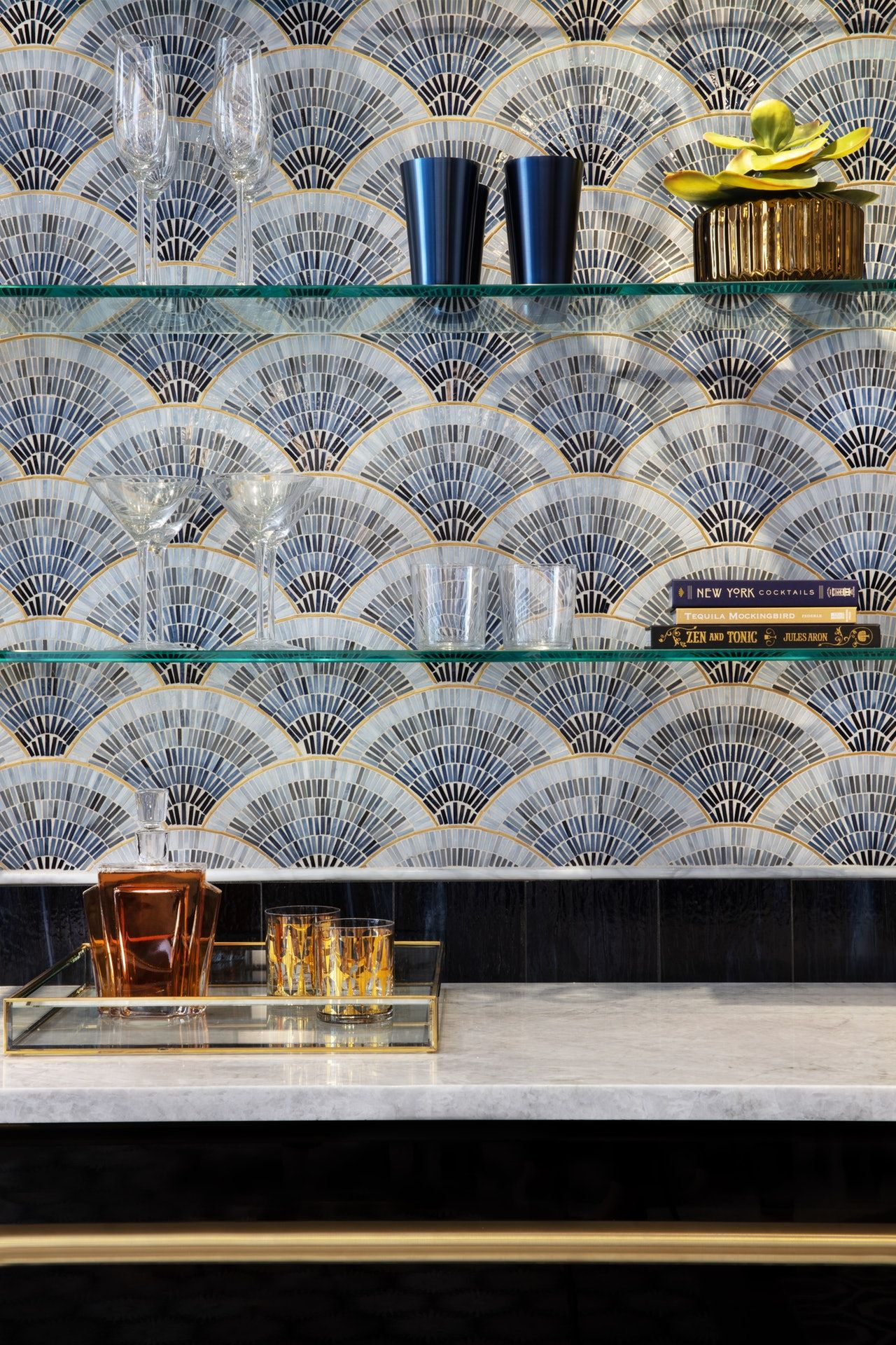Art tile backsplash