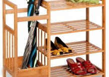 Bamboo organizer with shoes and umbrellas