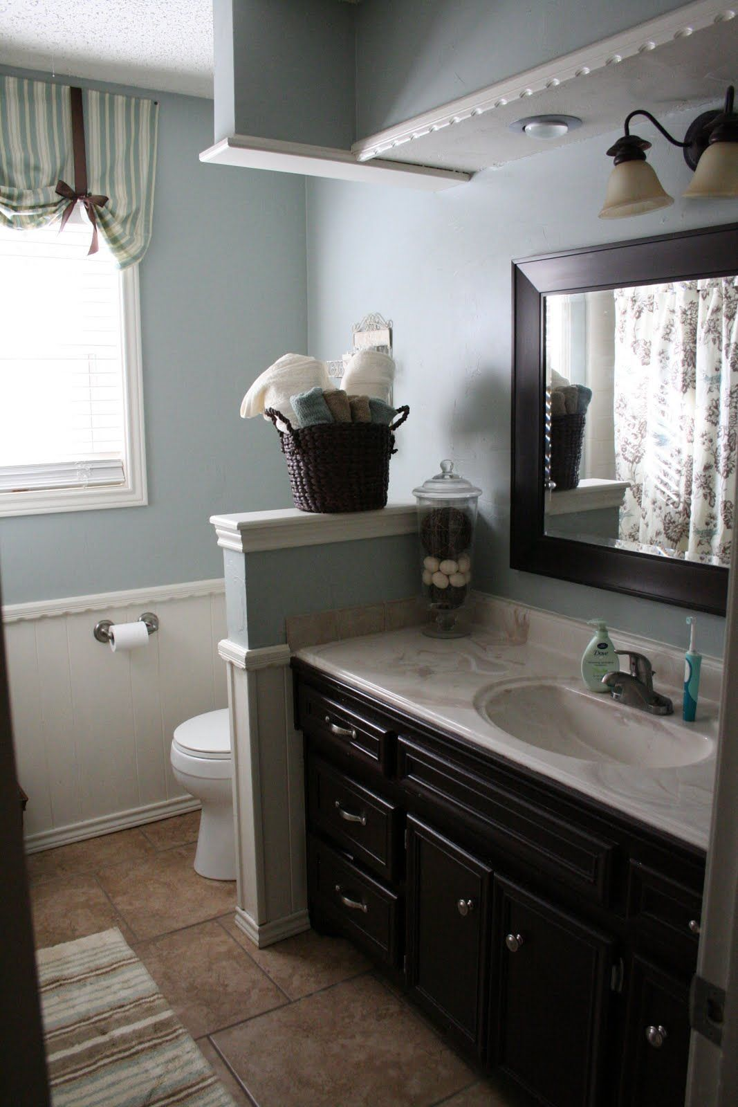 Bathroom with dark accessories
