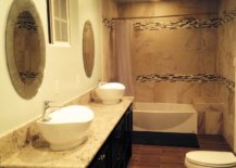 Bathroom with two sinks and mirror