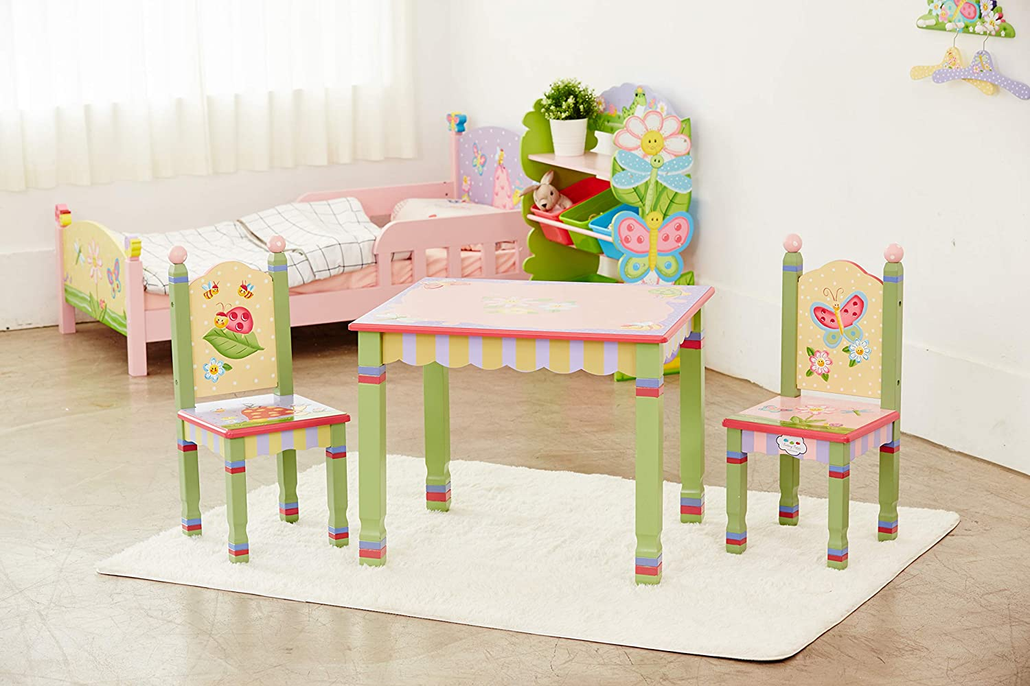 Bed, table and chair for kids in pastel colors