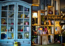 Blue cabinet full of things