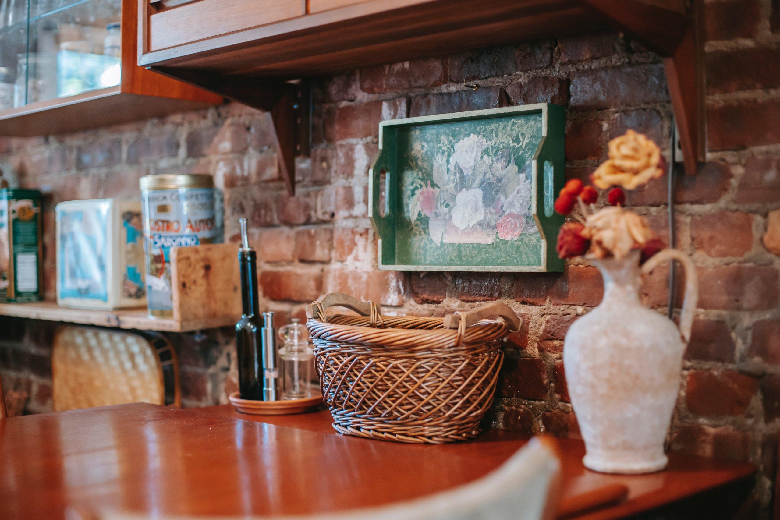 Brick wall kitchen backsplash
