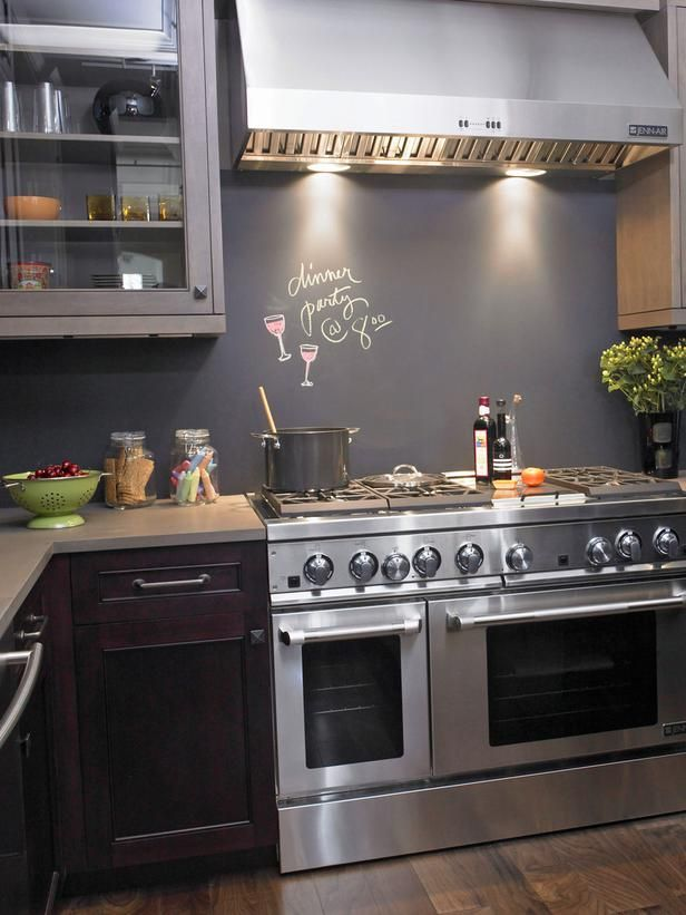 Chalk wall kitchen backsplash