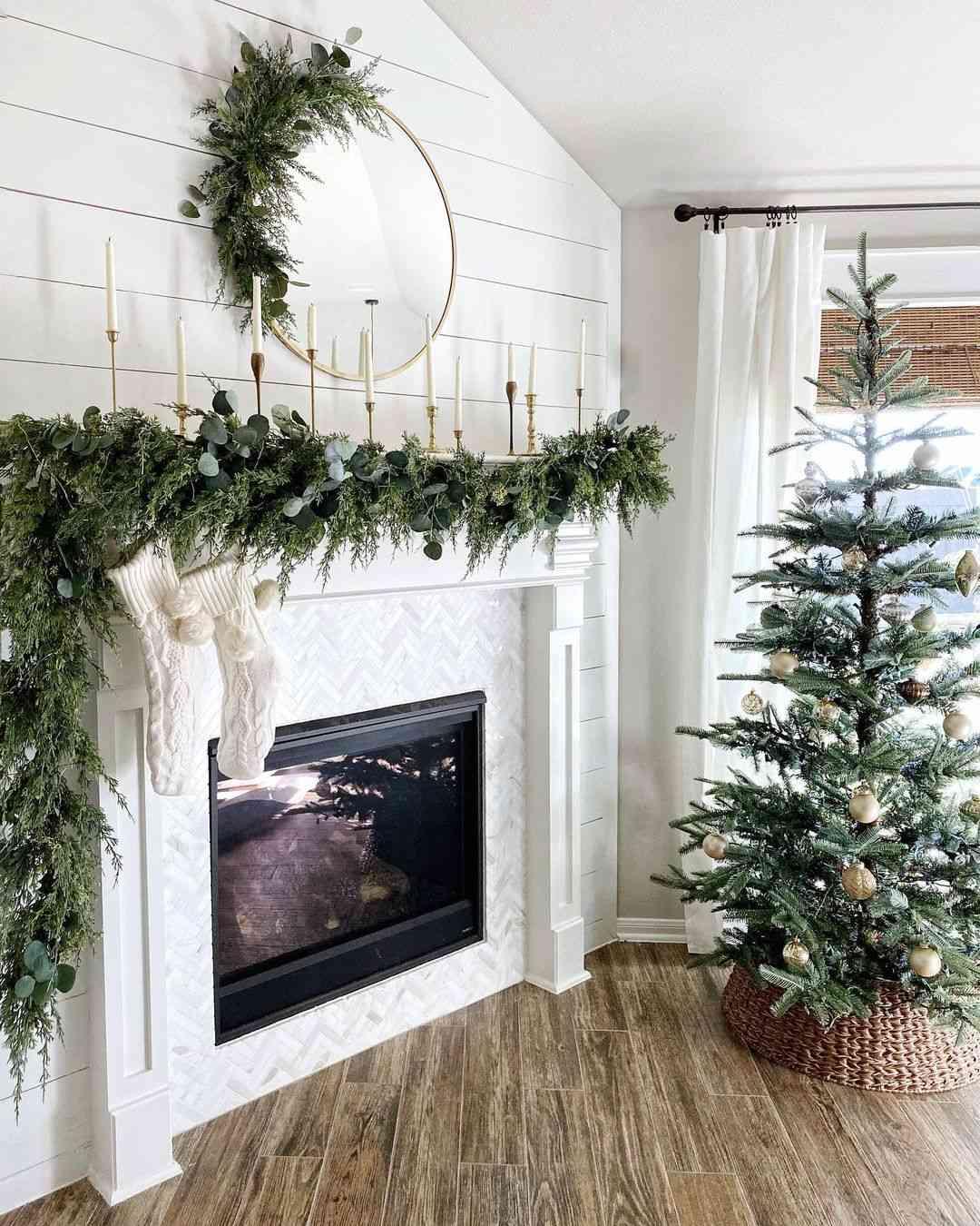 Christmas Decor Around Fireplace