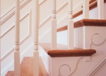 Close up photo of stair moldings