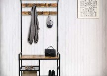 Coat hanger with storage for bags and shoes
