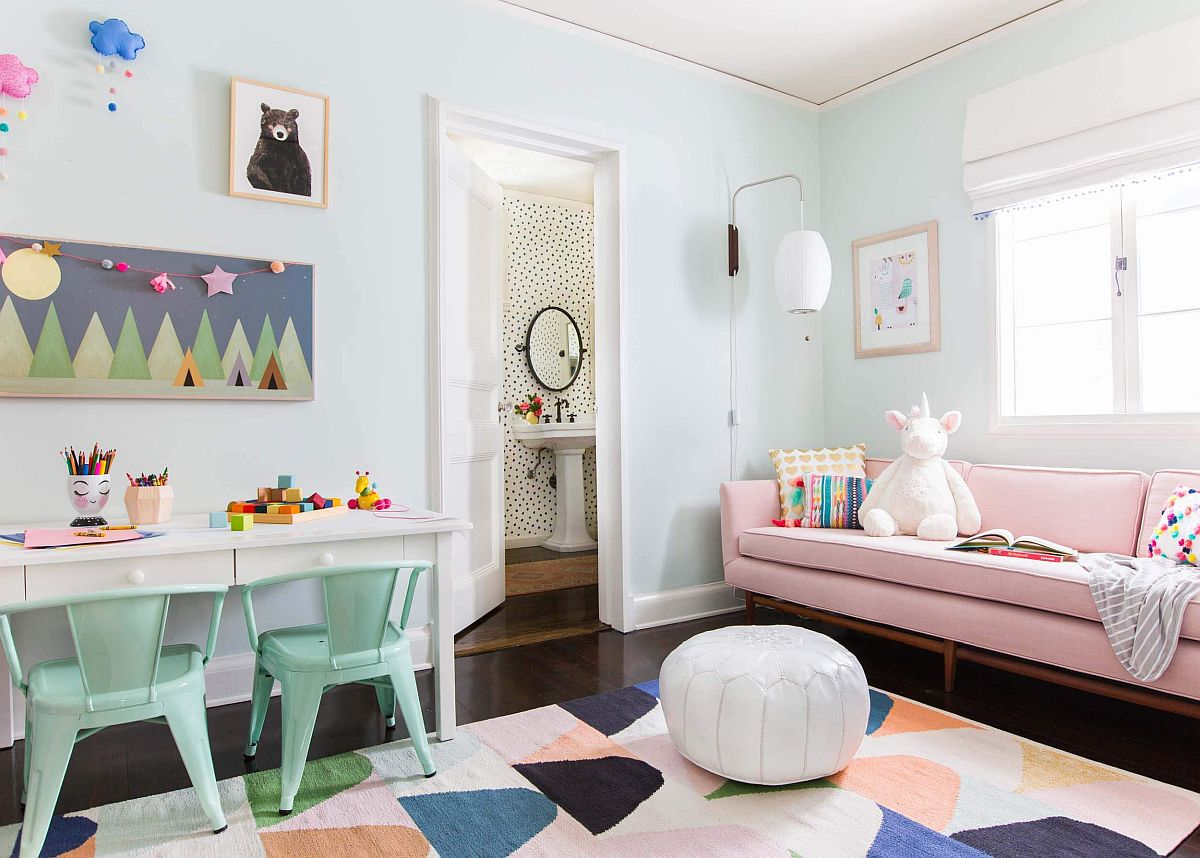 Color-filled kids' study space and playroom rolled ino one