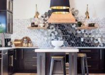 Colorful mosaic tiles kitchen backsplash