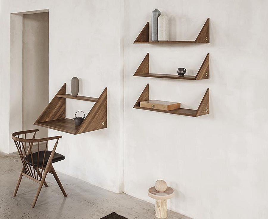 Combine the stylish wall-mounted desk in the corner with floating wooden shelves
