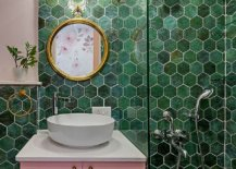 Contemporary-bathroom-with-hexagonal-wall-tiles-in-different-shades-of-green-and-a-smashing-pink-vanity-79366-217x155