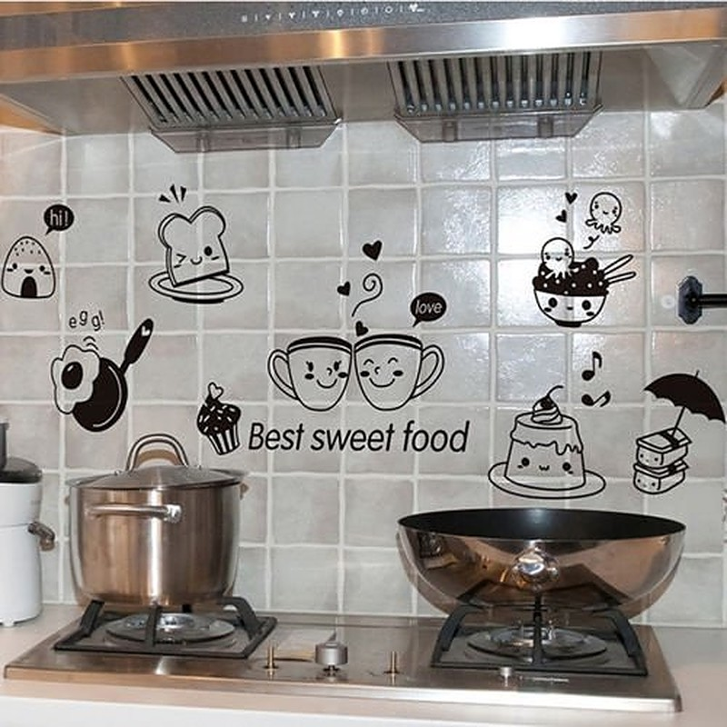 Cute wall decals in tiled kitchen wall
