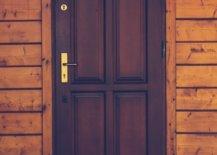 Dark brown door on wooden wall