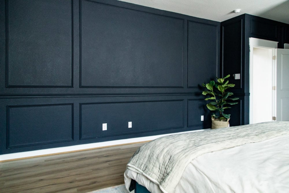 Dark-painted bedroom wall with moldings, green plant, white bed and white doorway