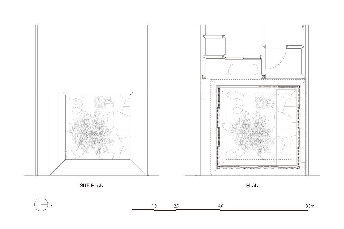 Design plan of Tsubo-Niwa Extension by Kenzo Makino & Associates in Kyoto, Japan