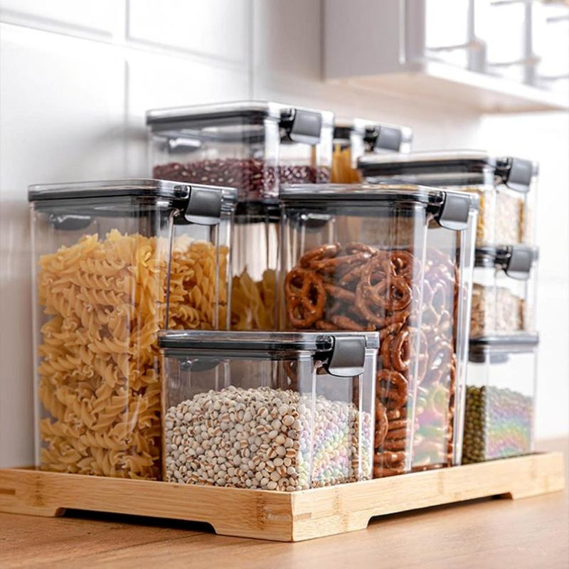 Dry food in clear canisters