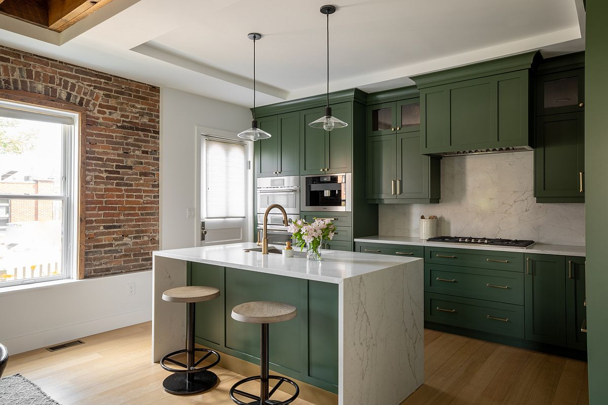 Exquisite-dark-green-kitchens-add-color-to-this-modern-industrial-kitchen-with-an-exposed-brick-wall-section-33689