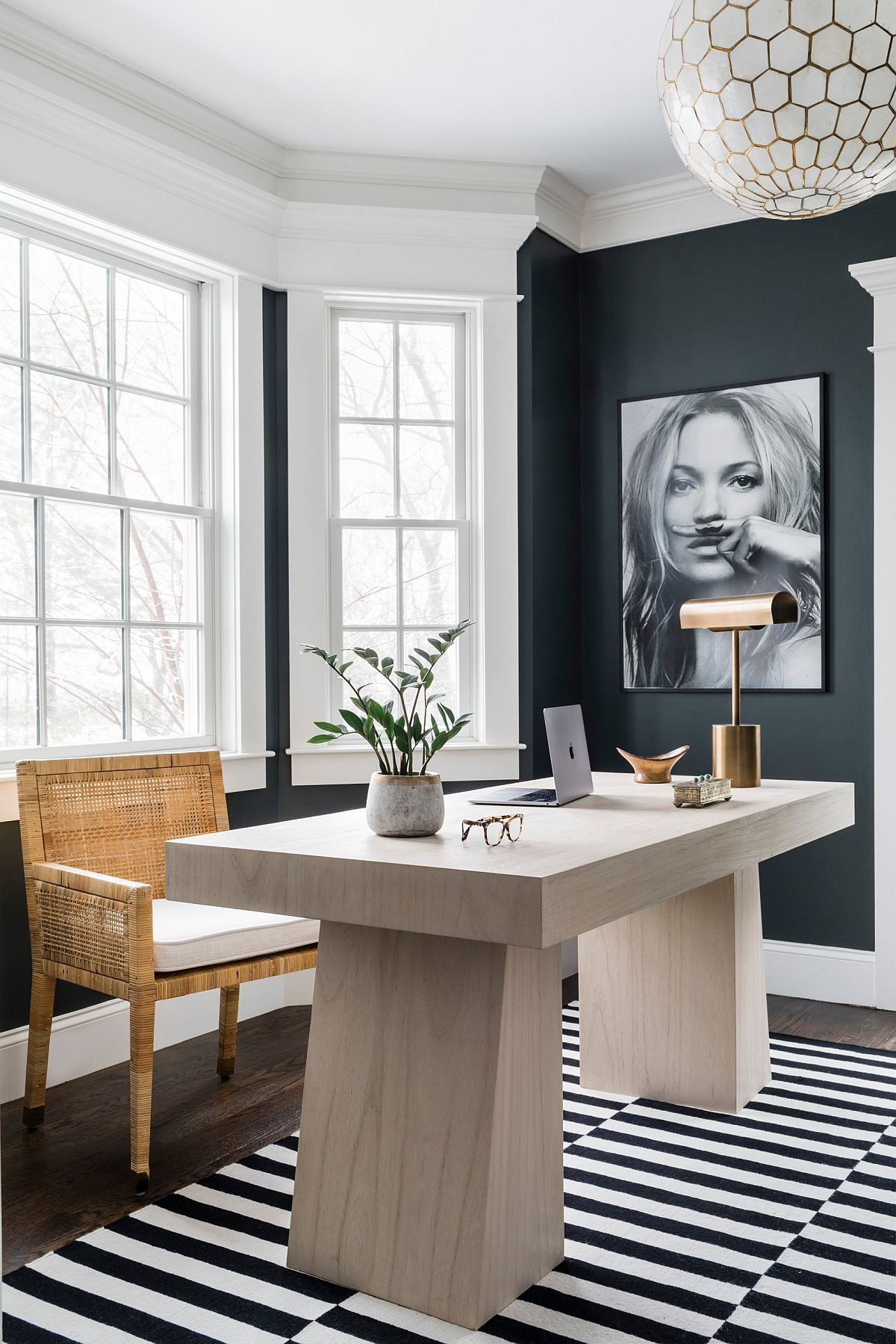 Fabulous contemporary home office in gray with black and white striped carpet and stylish design
