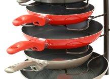 Five pans in rack holder