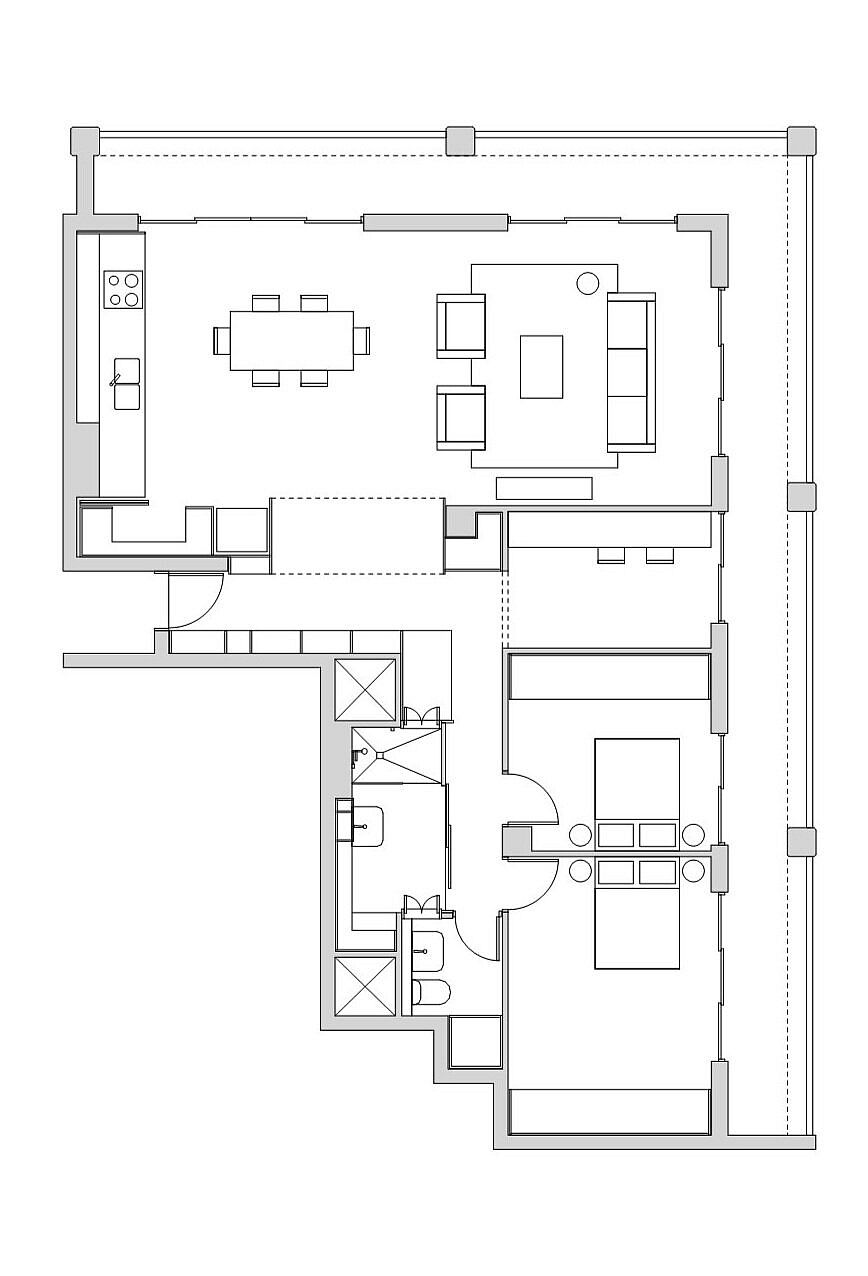 Floor plan of the renovated Beaumont apartment in Brisbane, Australia