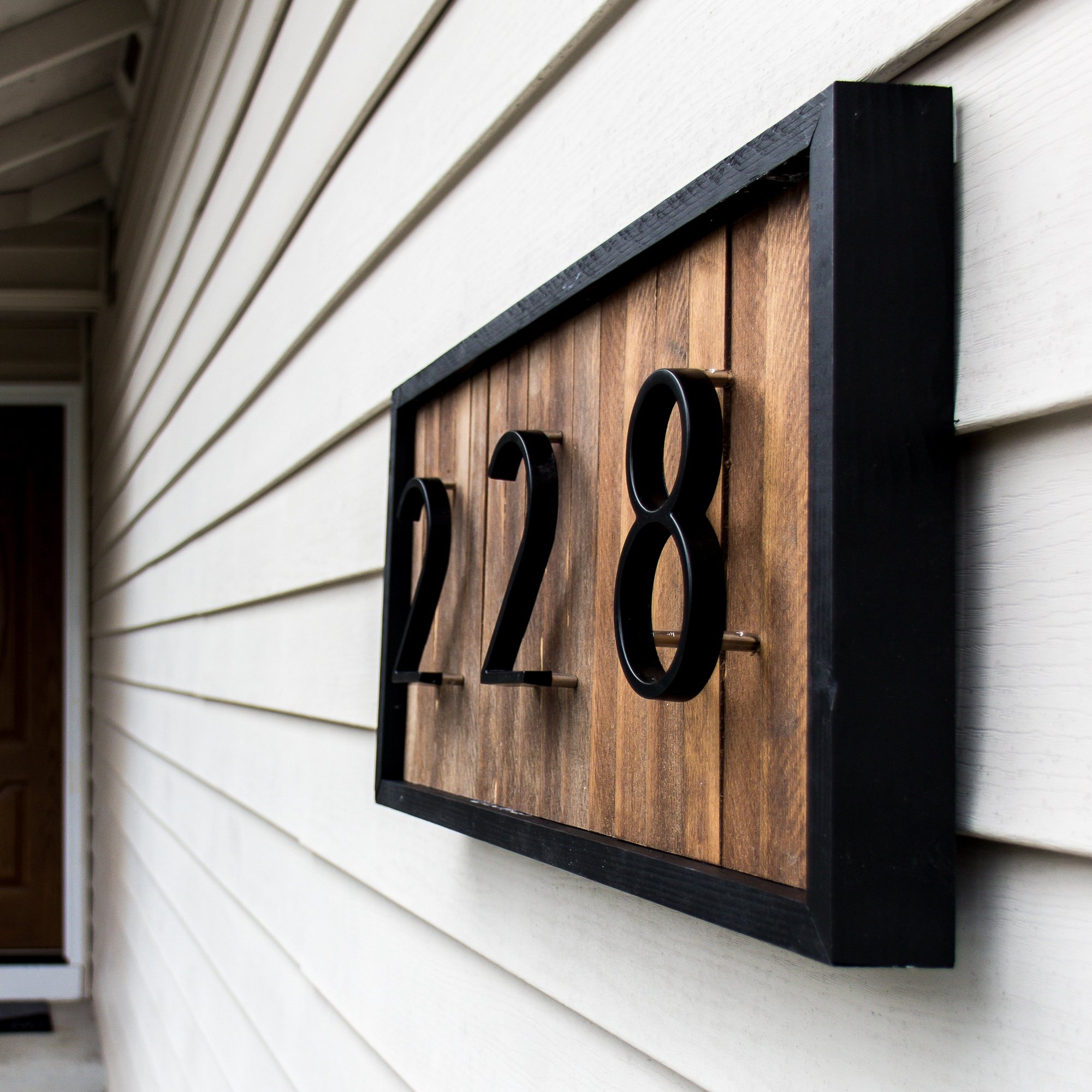 Framed House Number on Wood