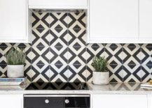 Geometric tile kitchen backsplash