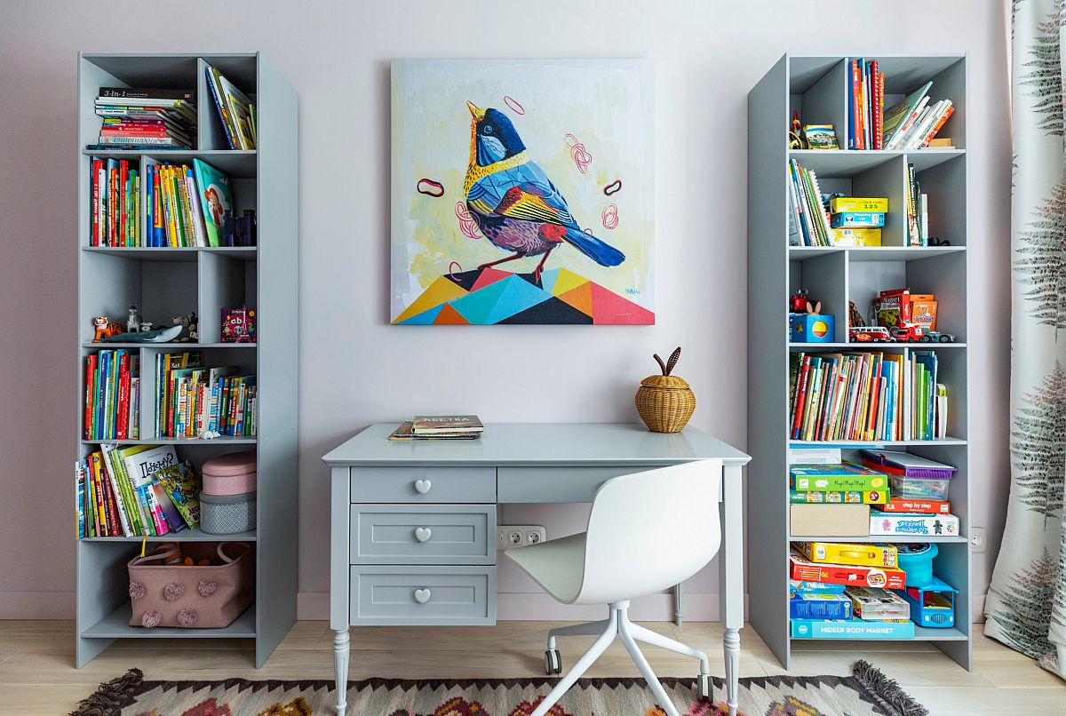 Gorgeous-kids-study-space-in-light-pastel-blue-coupled-with-ample-storage-space-in-the-form-of-open-shelves-25742
