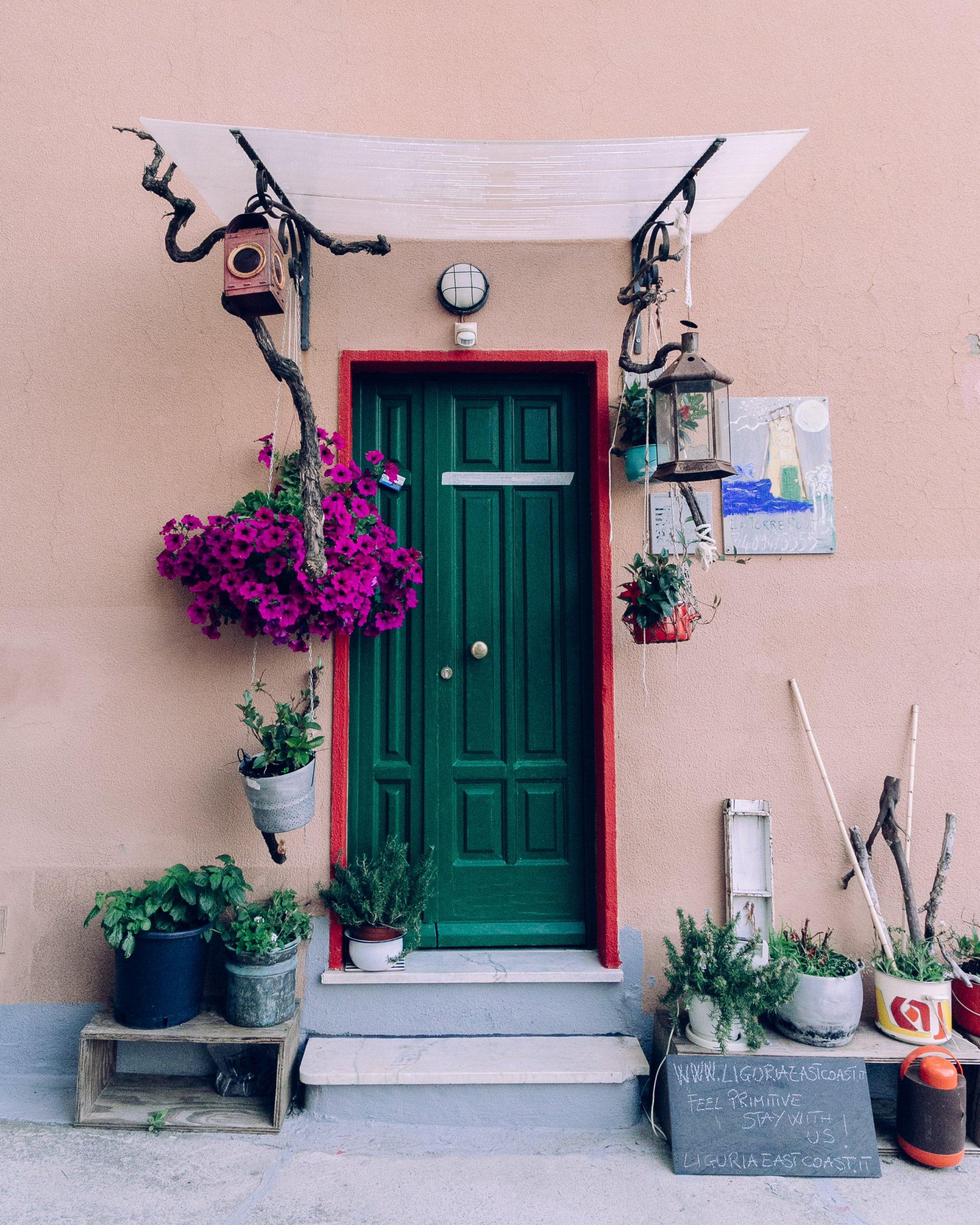 Green front door with hanging purple plants