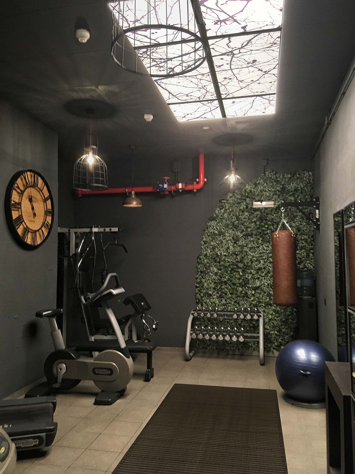 Greenery, natural light and gray walls create this unique gym