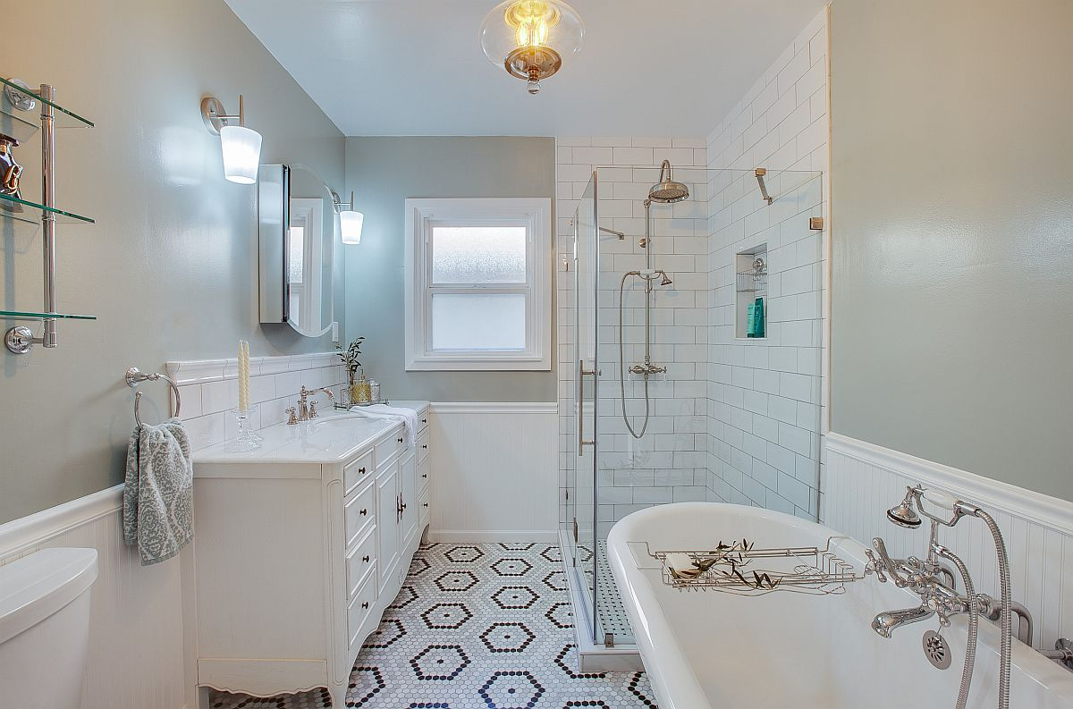 Hexagonal-floor-tiles-bring-pattern-to-this-modern-bathroom-in-white-and-gray-54280