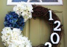 House Number on Front Door Wreath