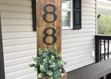 House Number on Porch Wooden Sign